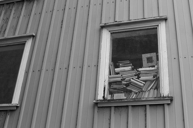 The icelandic way to stack books at a window.