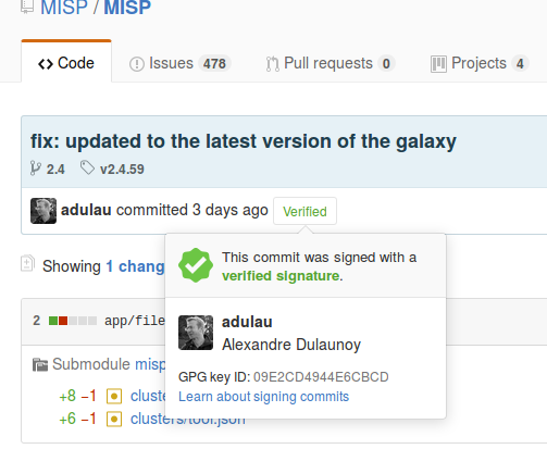 An example of a signed git commit